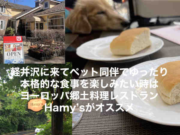 軽井沢の別荘地の中、ペット同伴で、ゆったり本格的な食事を楽しみたい時はHamy'sがオススメ。ボリューム満点のヨーロッパの郷土料理のレストランです。